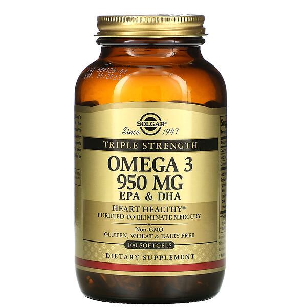 омега-3, ЭПК и ДГК, тройной концентрации, 950мг, 100мягких таблеток