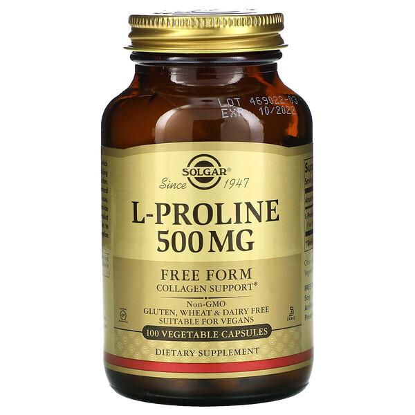 Solgar, L-Proline, 500мг, 100растительных капсул