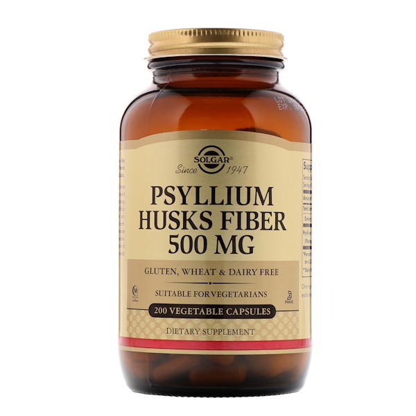 Клетчатка из шелухи семян подорожника, 500 мг, 200 растительных капсул