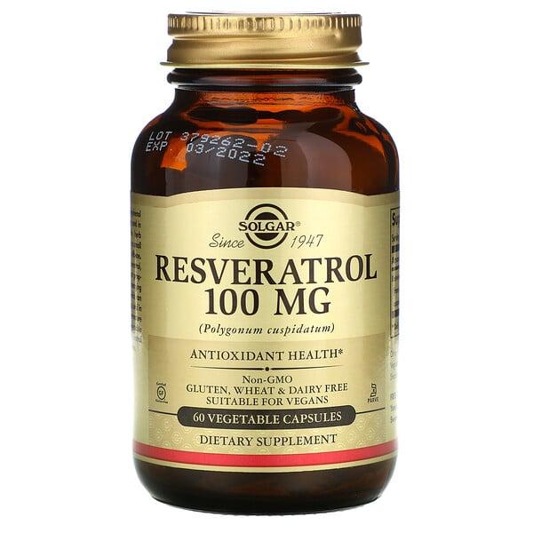 Solgar, Ресвератрол, 100 мг, 60 растительных капсул