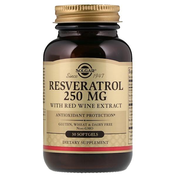 Ресвератрол, 250 мг, 30 мягких желатиновых капсул