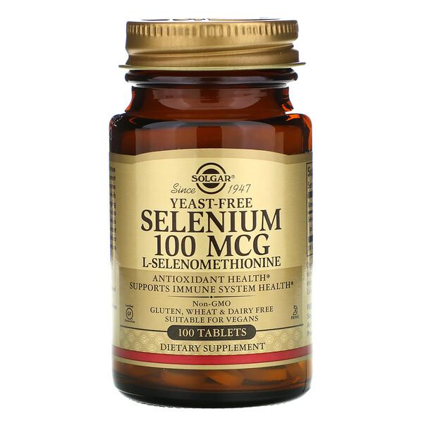 Solgar, селен, бездрожжевой, 100мкг, 100таблеток