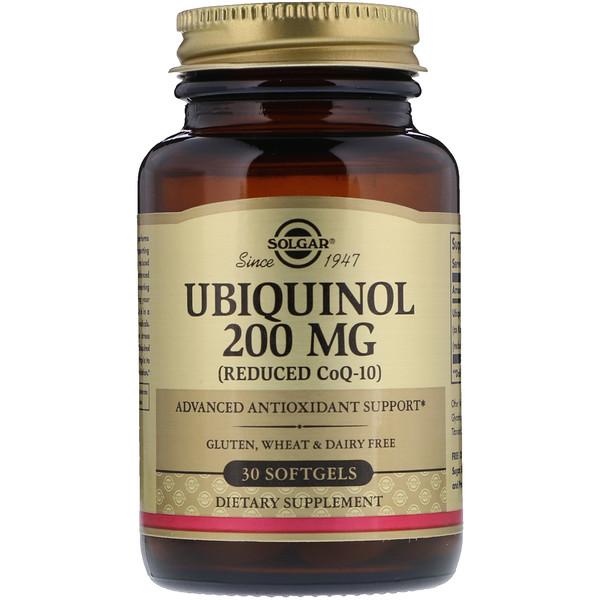Убихинол (сокращенный кофермент CoQ10), 200 мг, 30 мягких желатиновых капсул
