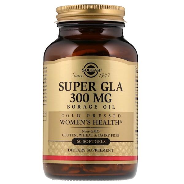 Solgar, Супер ГЛК, масло огуречника, здоровье женщин, 300 мг, 60 мягких желатиновых капсул