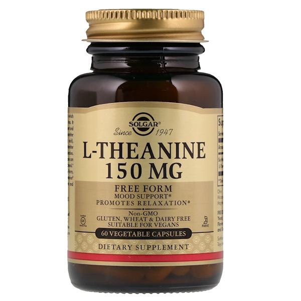 L-теанин, в свободной форме, 150 мг, 60 растительных капсул