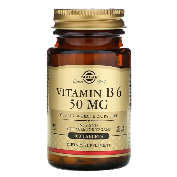 Solgar, ВитаминВ6, 50мг, 100таблеток