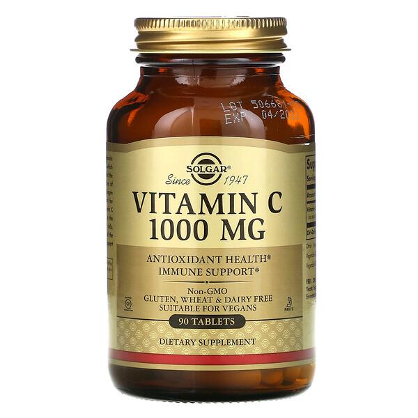 Solgar, витаминC, 1000мг, 90таблеток