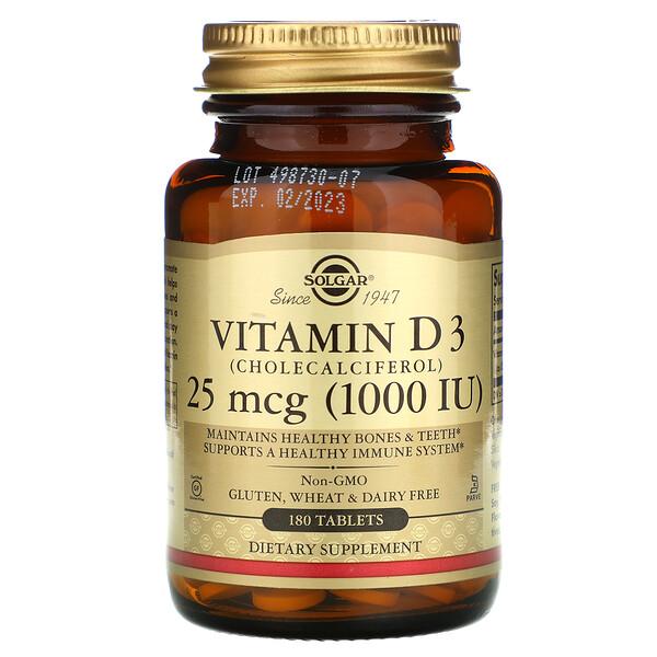 Solgar, витаминD3, 25мкг (1000МЕ), 180таблеток