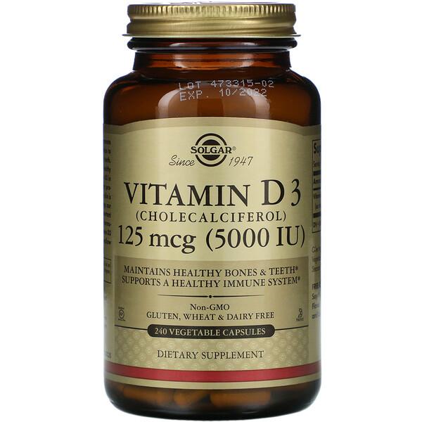 Solgar, Витамин D3 (холекальциферол), 5000МЕ, 240растительных капсул
