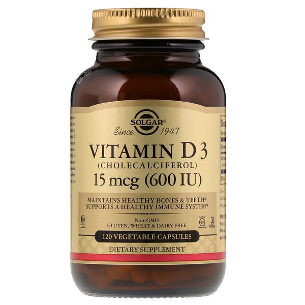 Витамин D3 (холекальциферол), 15 мкг (600 МЕ), 120 растительных капсул