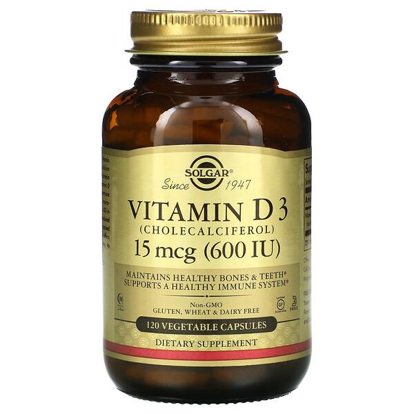 Solgar, Витамин D3 (холекальциферол), 15 мкг (600 МЕ), 120 растительных капсул