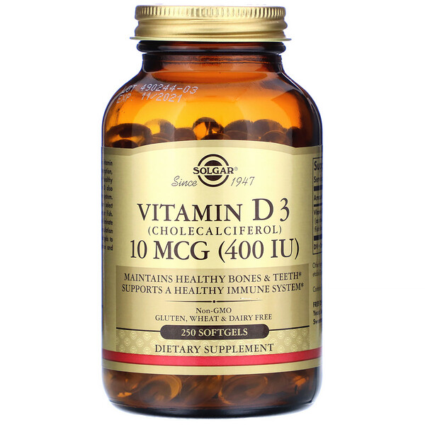 Solgar, Витамин D3 (холекальциферол), 400 МЕ, 250 мягких желатиновых капсул