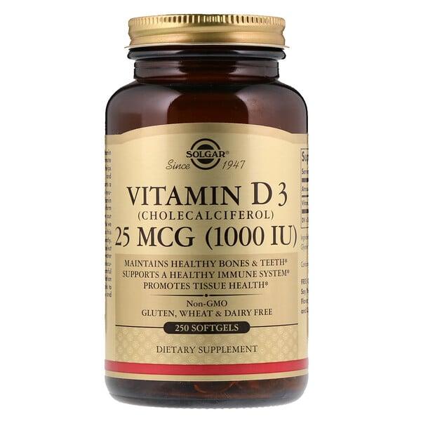 Витамин D3 (холекальциферол), 25мкг (1000МЕ), 250мягких желатиновых капсул
