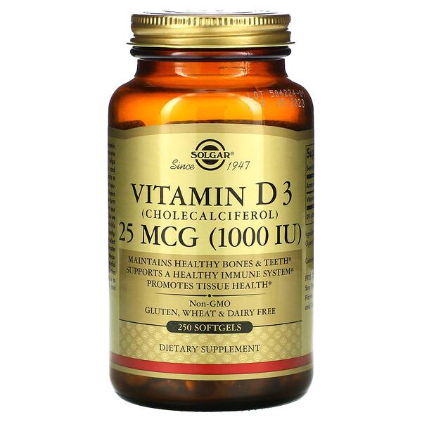 Solgar, Витамин D3 (холекальциферол), 25мкг (1000МЕ), 250мягких желатиновых капсул