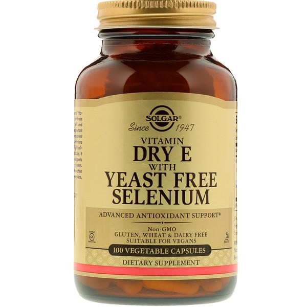 Сухой витамин E с селеном без дрожжей, 100 вегетарианских капсул