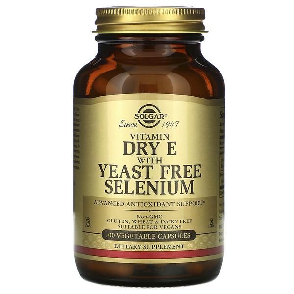 Solgar, Сухой витамин E с селеном без дрожжей, 100 вегетарианских капсул
