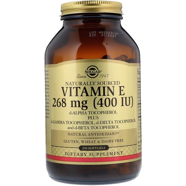 Solgar, Витамин Е природного происхождения, 268мг (400МЕ), 250мягких желатиновых капсул
