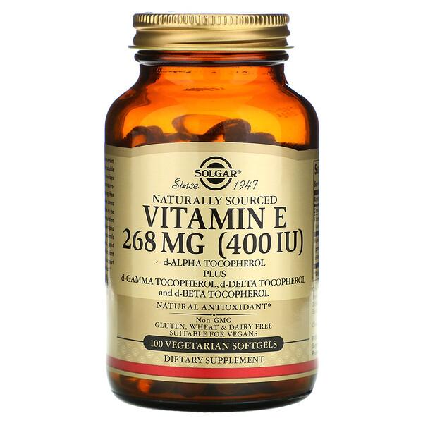 Solgar, Витамин E, 268 мг (400 МЕ), 100 мягких вегетарианских капсул
