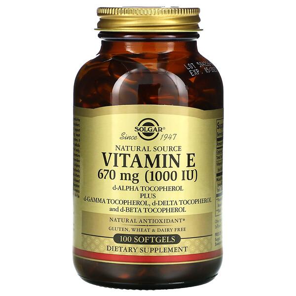 Витамин Е природного происхождения, 670мг (1000МЕ), 100мягких желатиновых капсул