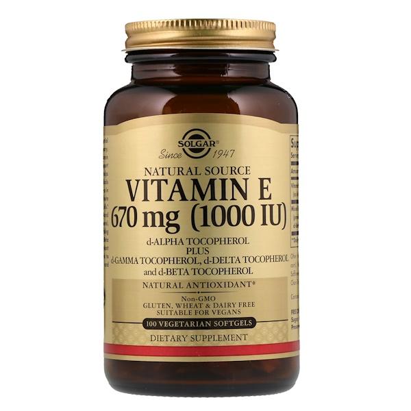 Solgar, Натуральный витаминЕ, 670мкг (1000МЕ), 100мягких таблеток