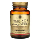 Solgar, Витамин D3 (холекальциферол), 5000 МЕ, 240 растительных капсул - iHerb