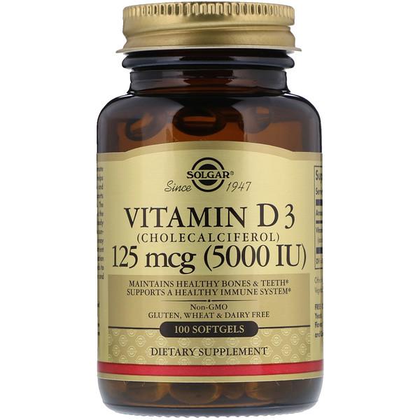 Витамин D3 (холекальциферол), 125 мкг (5000 МЕ), 100 мягких желатиновых капсул