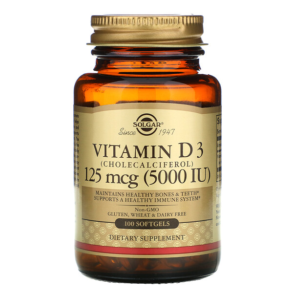 Solgar, витаминD3 (холекальциферол), 125мкг (5000МЕ), 100капсул