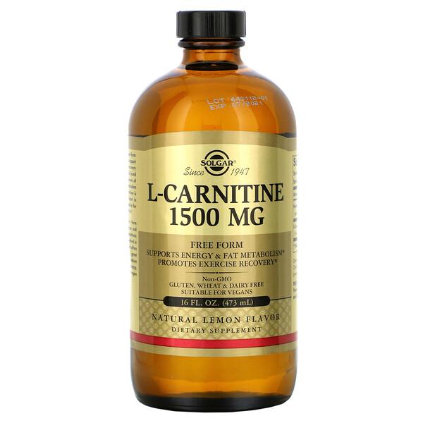 Solgar, L-карнитин, натуральный лимонный вкус, 1500 мг, 473 мл (16 жидких унций)