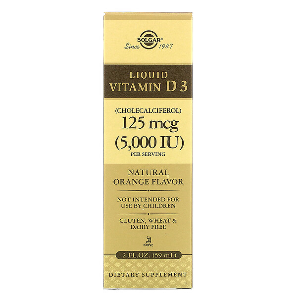 Solgar, Жидкий витамин D3, натуральный апельсиновый вкус, 125 мкг (5000 МЕ), 59 мл (2 жидких унции)