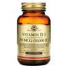 Solgar, витаминD3 (холекальциферол), 250мкг (10000МЕ), 120капсул