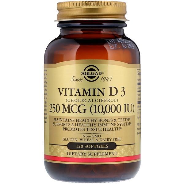 ВитаминD3 (холекальциферол), 250мкг (10 000МЕ), 120мягких желатиновых капсул