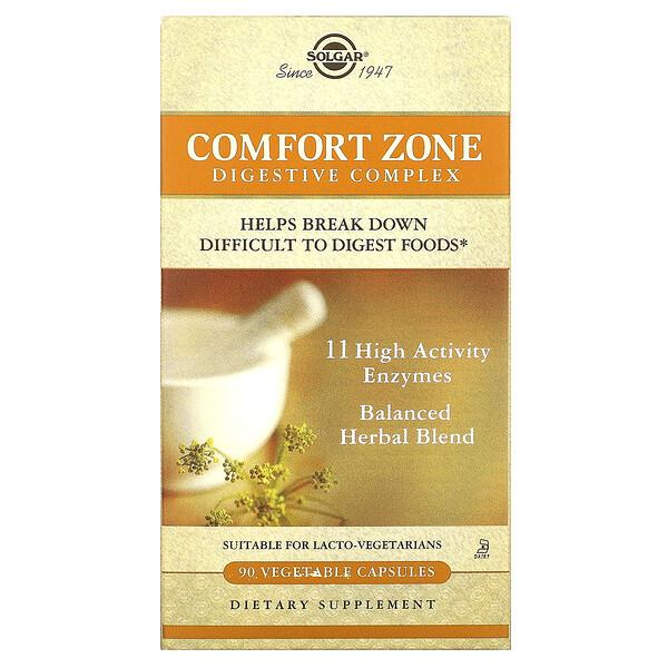 Solgar, Comfort Zone, комплекс для пищеварения, 90 растительных капсул
