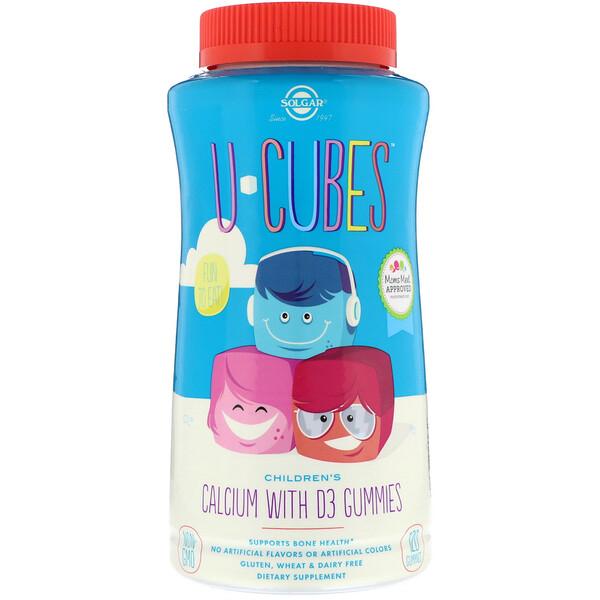 Solgar, U-Cubes, детский кальций с витаминомD3, розовый лимонад, со вкусом голубики и клубники, 120жевательных таблеток