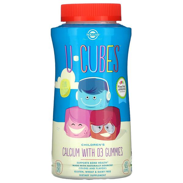 Solgar, U-Cubes, Children's Calcium With D3, Pink Lemonade, Blueberry, Strawberry, 120 Gummies