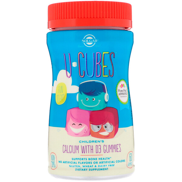 Solgar, U-Cubes, детский кальций с D3, со вкусом розового лимонада, голубики, клубники, 60 жевательных конфет