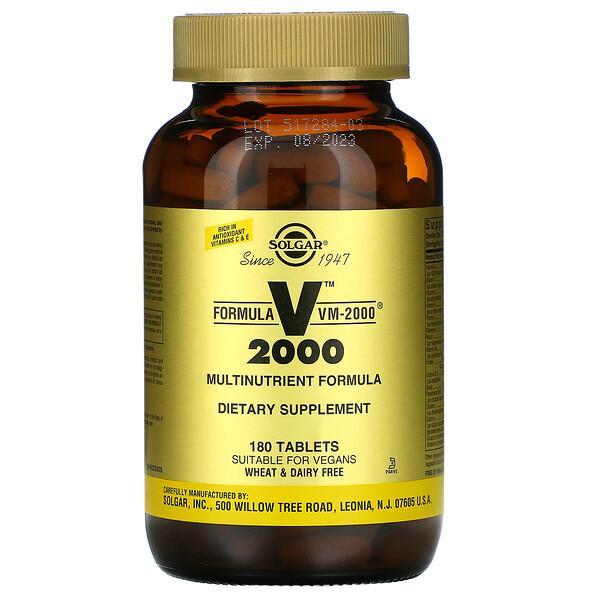 Solgar, Formula VM-2000, мультинутиентная формула, 180 таблеток