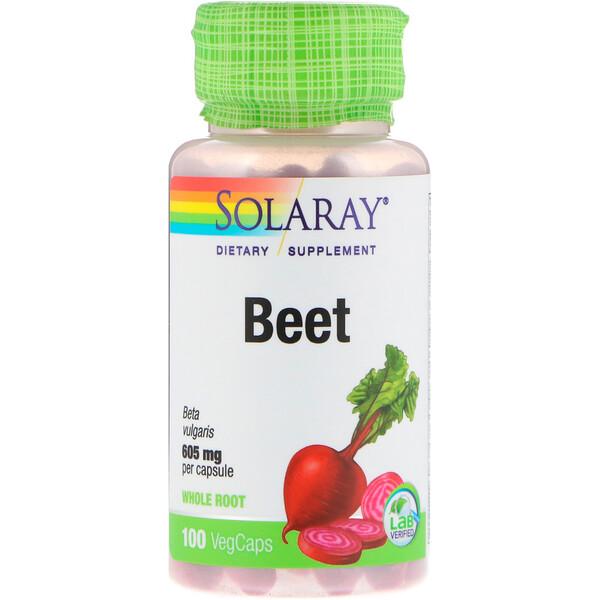 Solaray, Свекла, 605 мг, 100 вегетарианских капсул