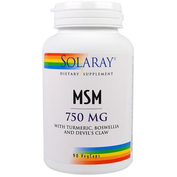 Solaray, MSM, 750 mg, 90 Veg Caps