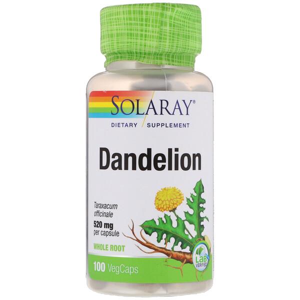 Solaray, Dandelion, 520 mg, 100 VegCaps (Discontinued Item)
