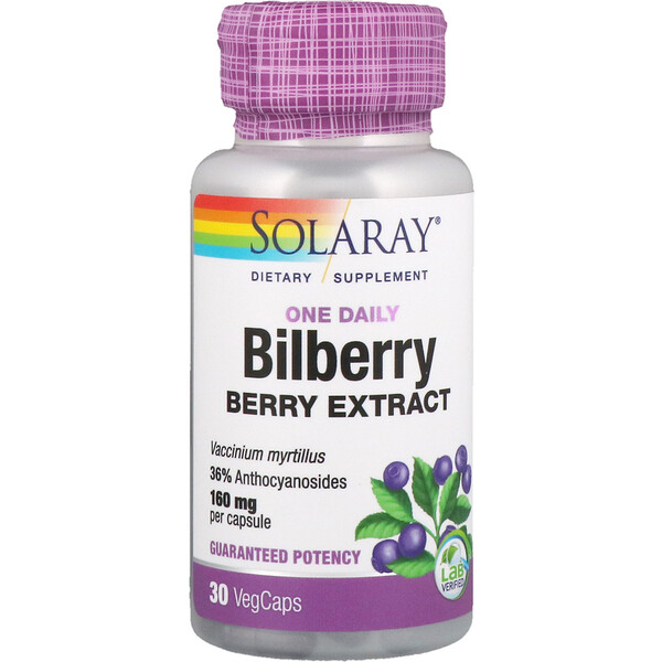 Bilberry, One Daily, 30 Easy-To-Swallow Capsules