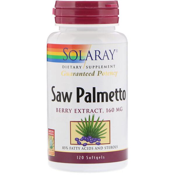 Solaray, Экстракт ягод пальмы сереноа, 160 мг, 120 мягких таблеток (Discontinued Item)