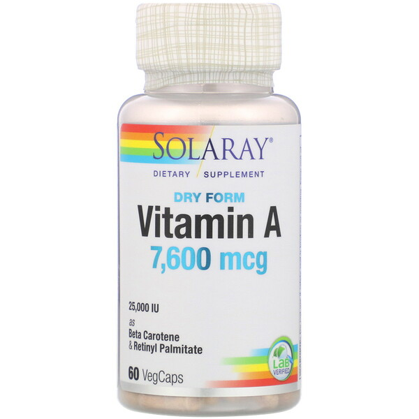 Solaray, Dry Form Vitamin A, 7,600 mcg, 60 VegCaps