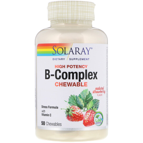 High Potency B-Complex Chewable, Natural Strawberry Flavor, 50 Chewables