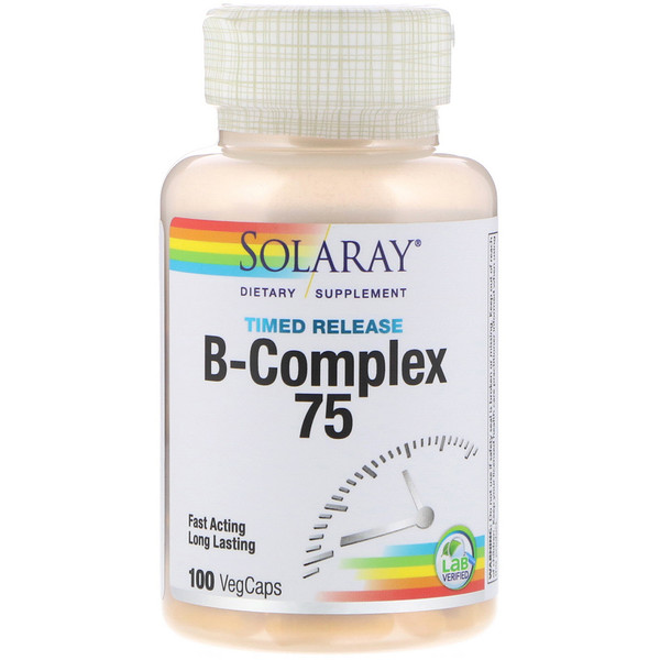 Комплекс с витаминами группы B - B-Complex 75, два этапа, замедленное высвобождение, 100 вегкапсул