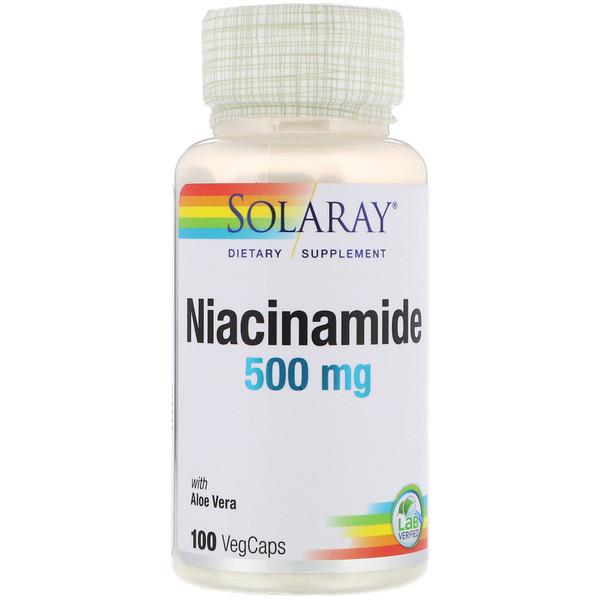 Никотинамид, 500 мг, 100 капсул с оболочкой из ингредиентов растительного происхождения