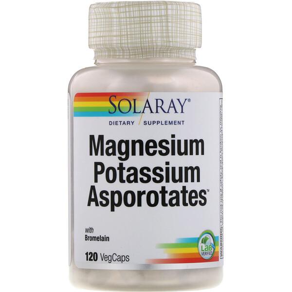 Magnesium Potassium Asporotates, аспартат магния и калия, 120растительных капсул