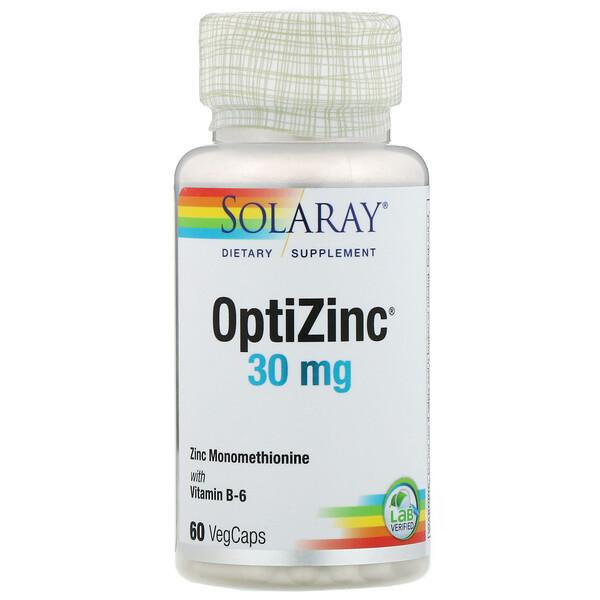 Solaray, OptiZinc, 30мг, 60растительных капсул
