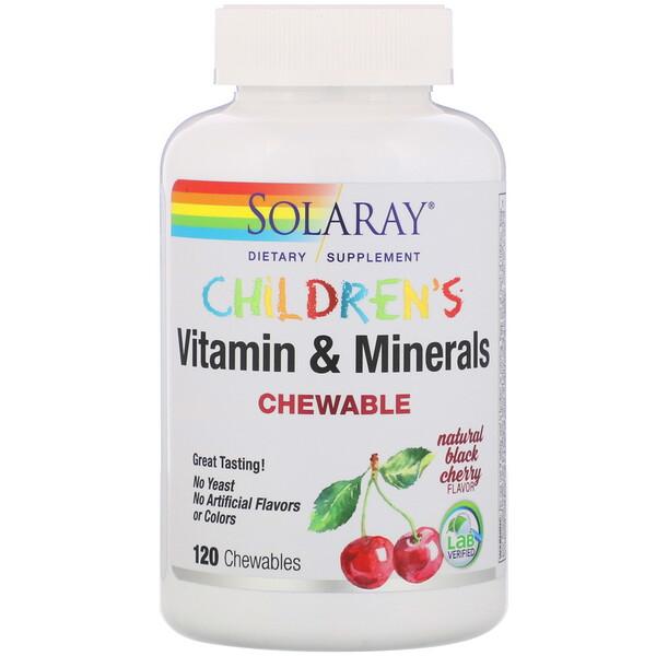 Детские жевательные витамины и минералы, натуральный вкус черной вишни, 120жевательных таблеток