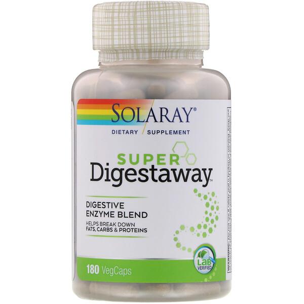 Смесь ферментов Super Digestaway для поддержки пищеварения, 180 растительных капсул