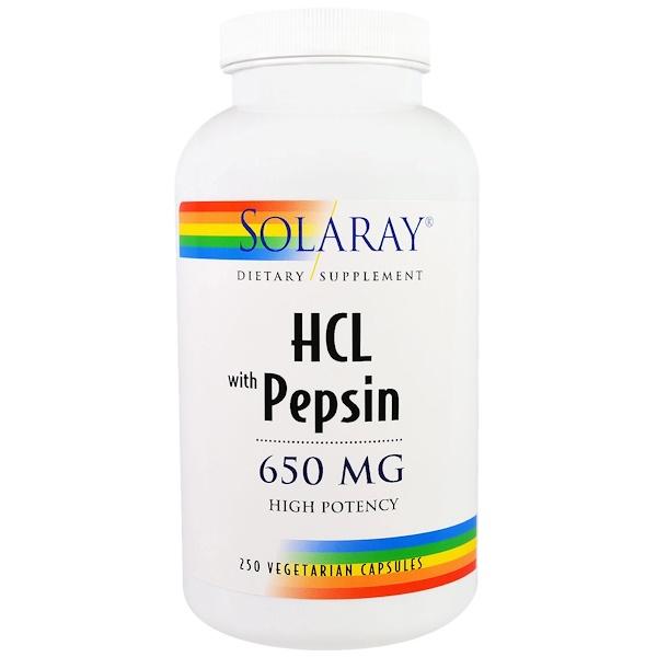 Solaray, Гидрохлорид с пепсином, 650мг, 250 вегетарианских капсул